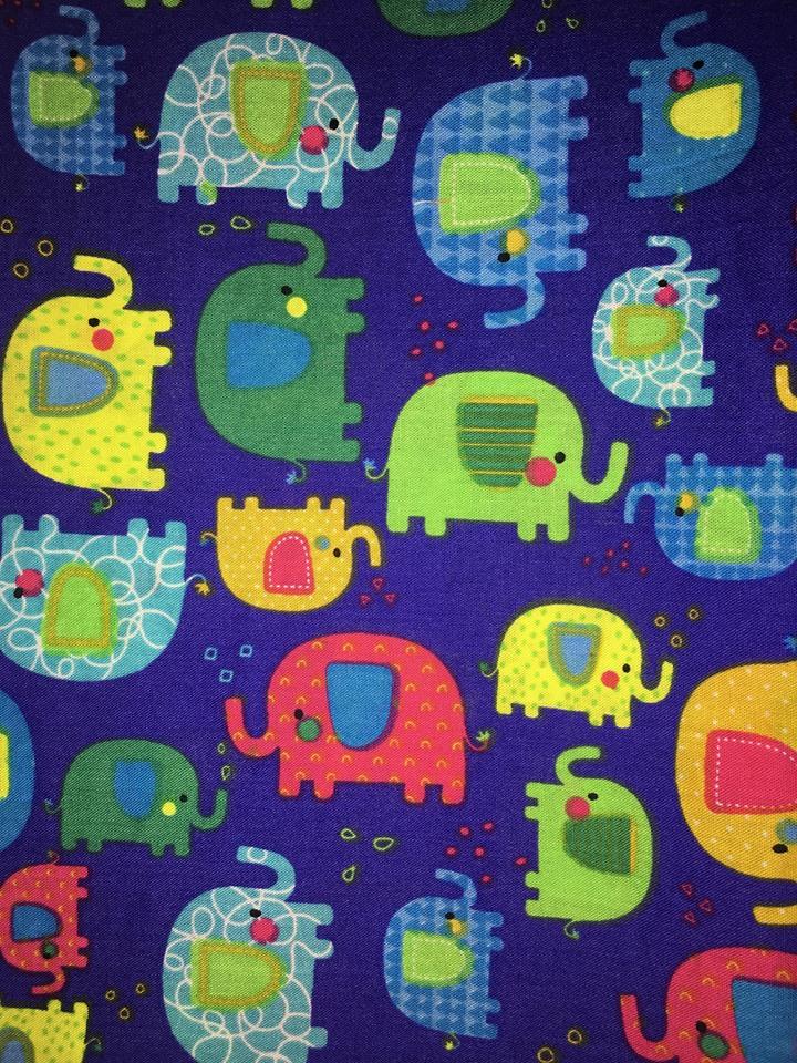 coton bleu éléphants
