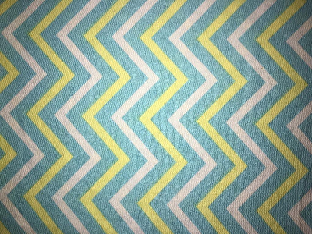 coton turquoise jaune blanc rayures