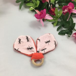 Anneau dentition libellule rose grenade 7