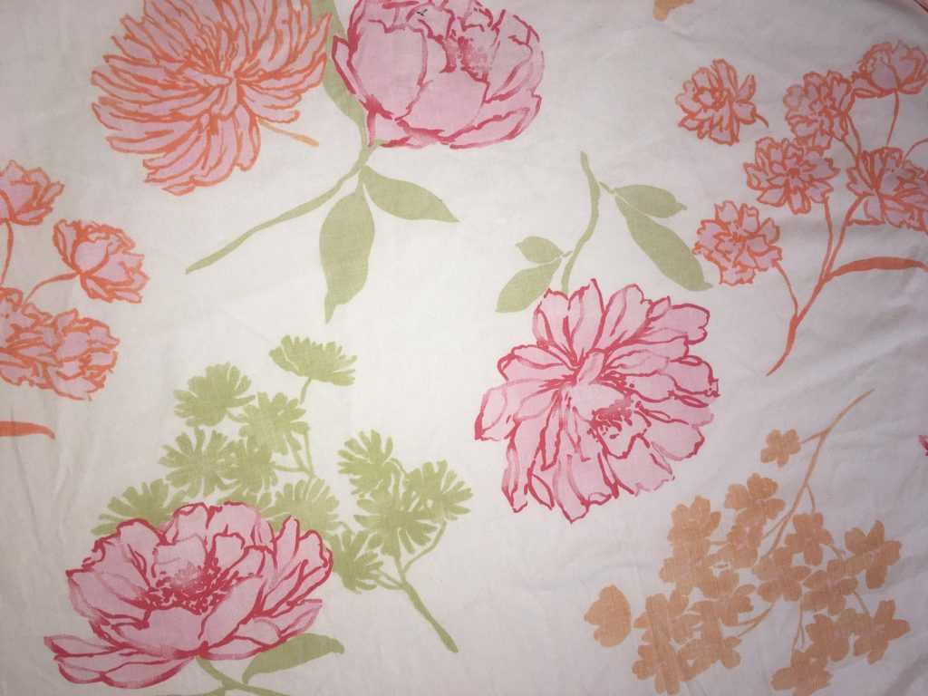 coton blanc fleurs
