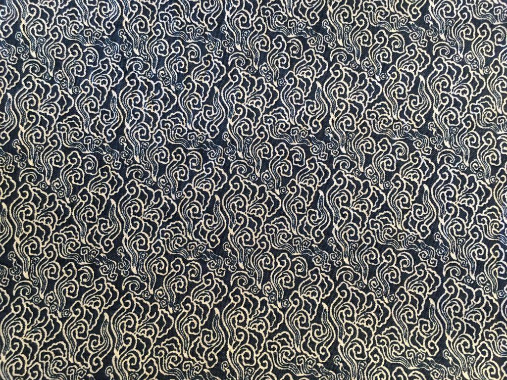 coton bleu motifs abstraits