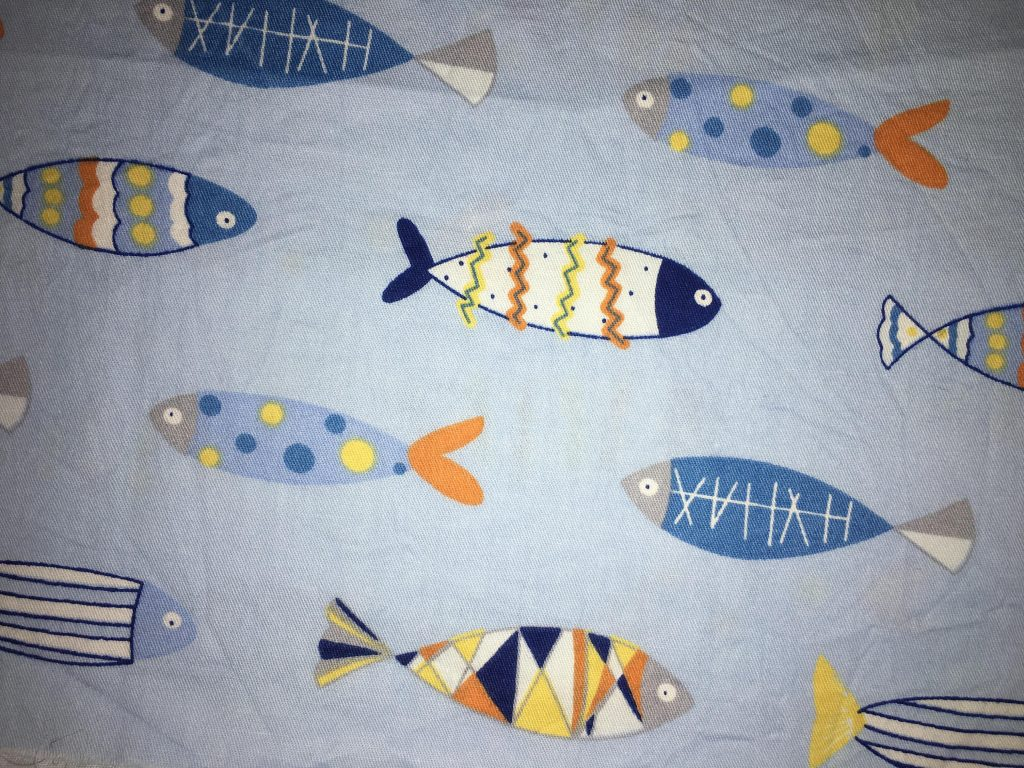 coton bleu poissons