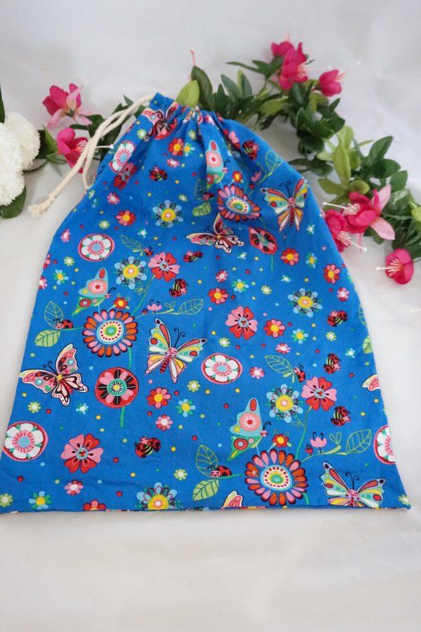 pochon sac coton fleurs insectes cordelette