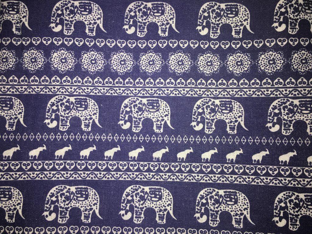coton éléphants bleu