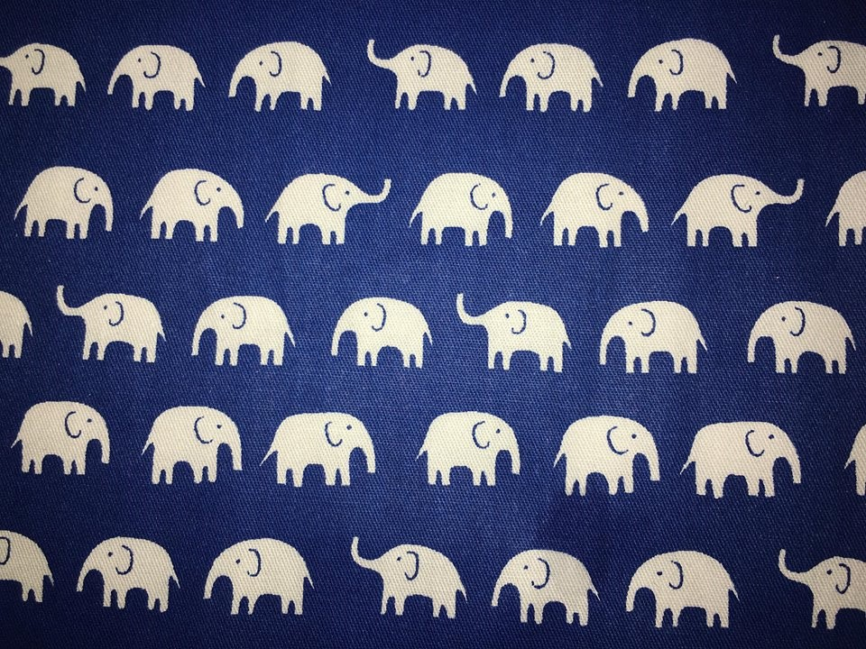 coton éléphants bleu blanc