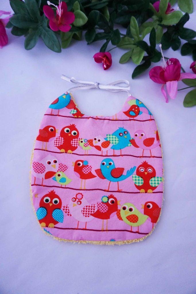 bavoir, bébé, enfant, oiseau, coton, éponge