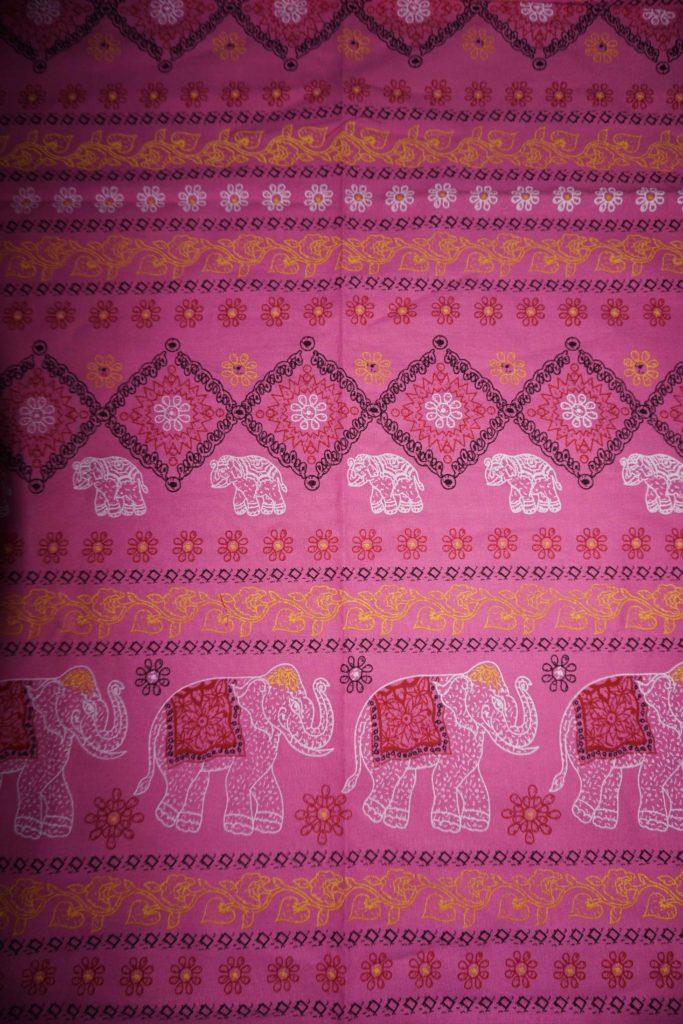 tissu coton rose éléphants laos